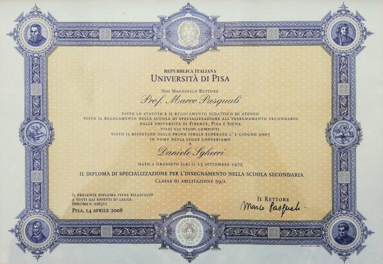Diploma di Specializzazione per l'insegnamento nella Scuola Secondaria (14/04/2008)
