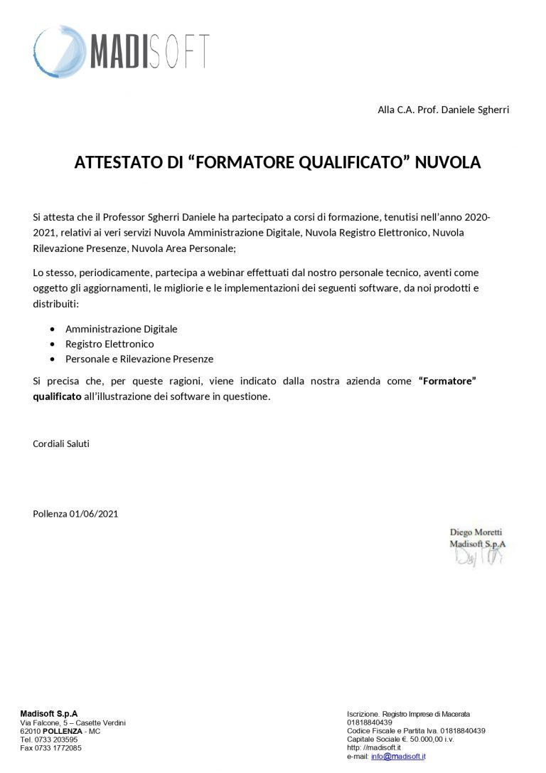 Attestato di formatore qualificato Nuvola (01/06/2021)