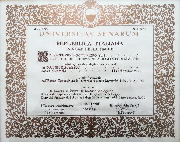 Diploma di Laurea in Scienze Geologiche (16/07/2002)