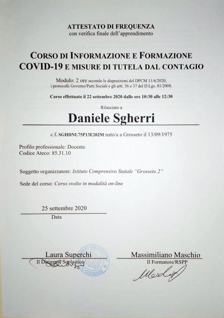 Corso di formazione e informazione COVID-19 e misure di tutela del contagio